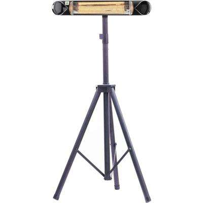 35.4 in. 1500-Watt Infrared Electric Patio Heater with Remote Control and Tripod Stand in Black