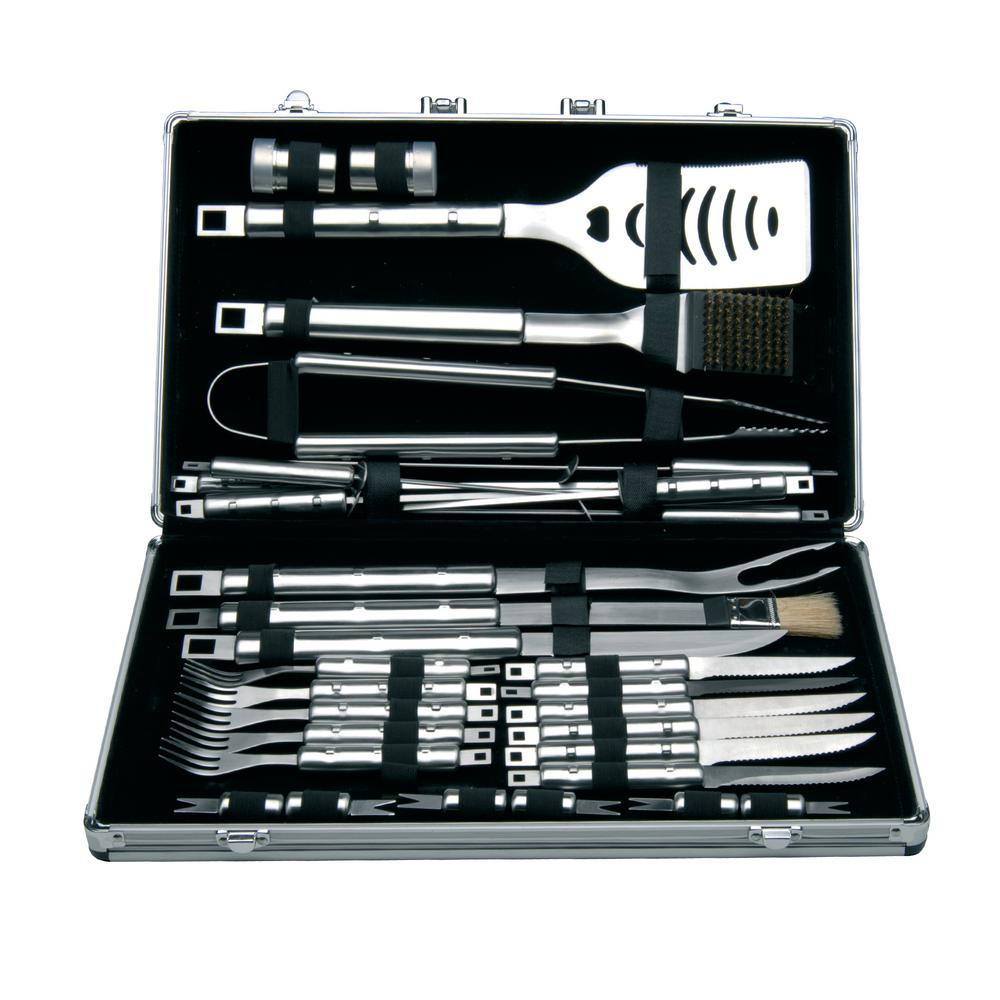 BergHOFF Cubo 33-Piece Stainless Steel Barbecue Set with Case