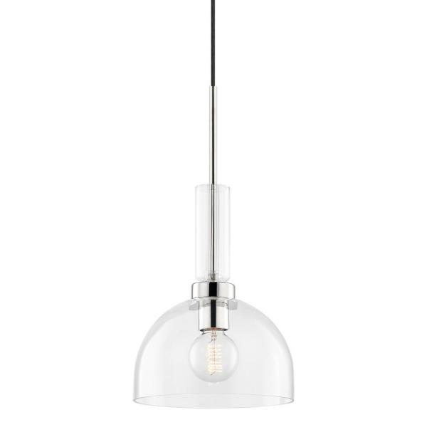 Tabitha 1-Light Polished Nickel Pendant with Glass Shade