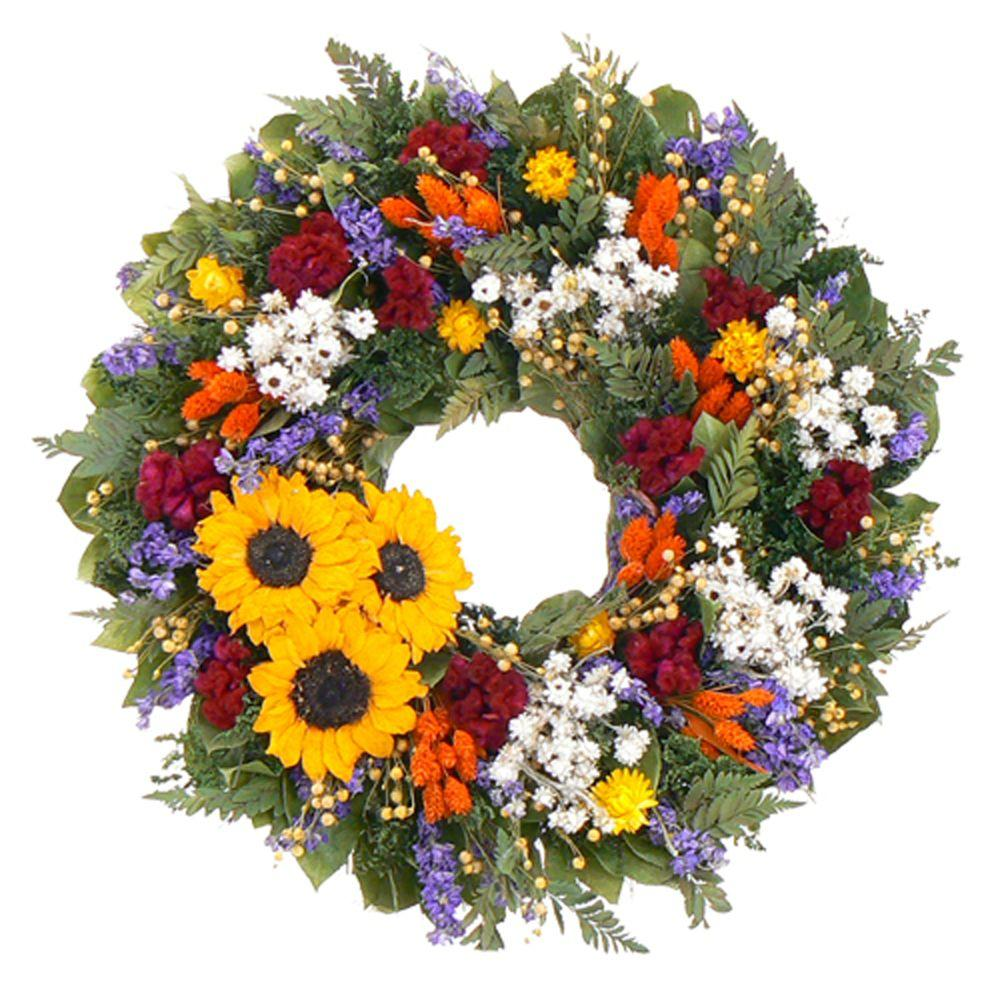 The Christmas Tree Company Swanky Sunflower 18 in. Dried Floral Wreath