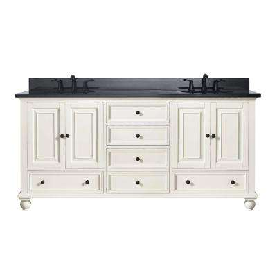 Thompson 73 in. W x 22 in. D x 35 in. H Vanity in French White with Granite Vanity Top in Black with White Basin