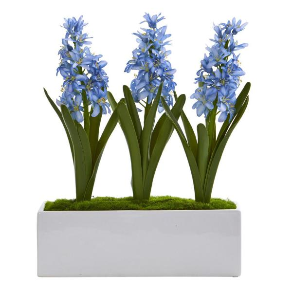 Nearly Natural Hyacinth Artificial Arrangement in White Vase 1517