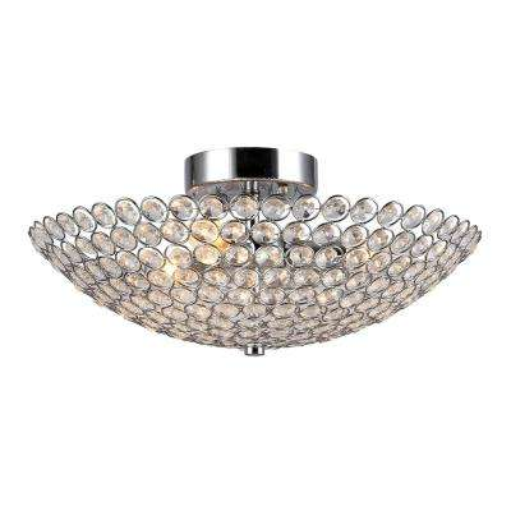 Marilla 3-Light Chrome Crystal Semi-Flush Mount