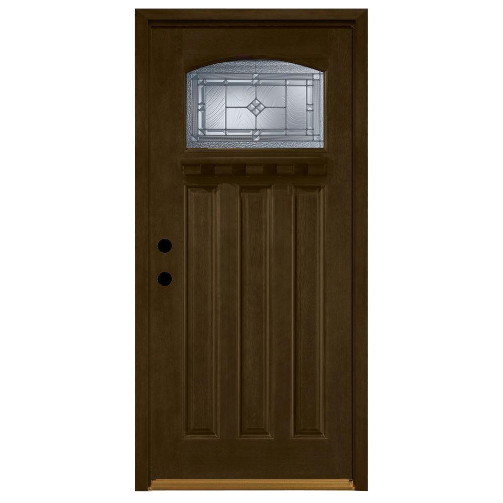 Steves & Sons 36 in. x 80 in. Allentown Top Lite Stained Mahogany Wood Right-Hand Prehung Front Door 4 in. Wall and Prefinished Frame