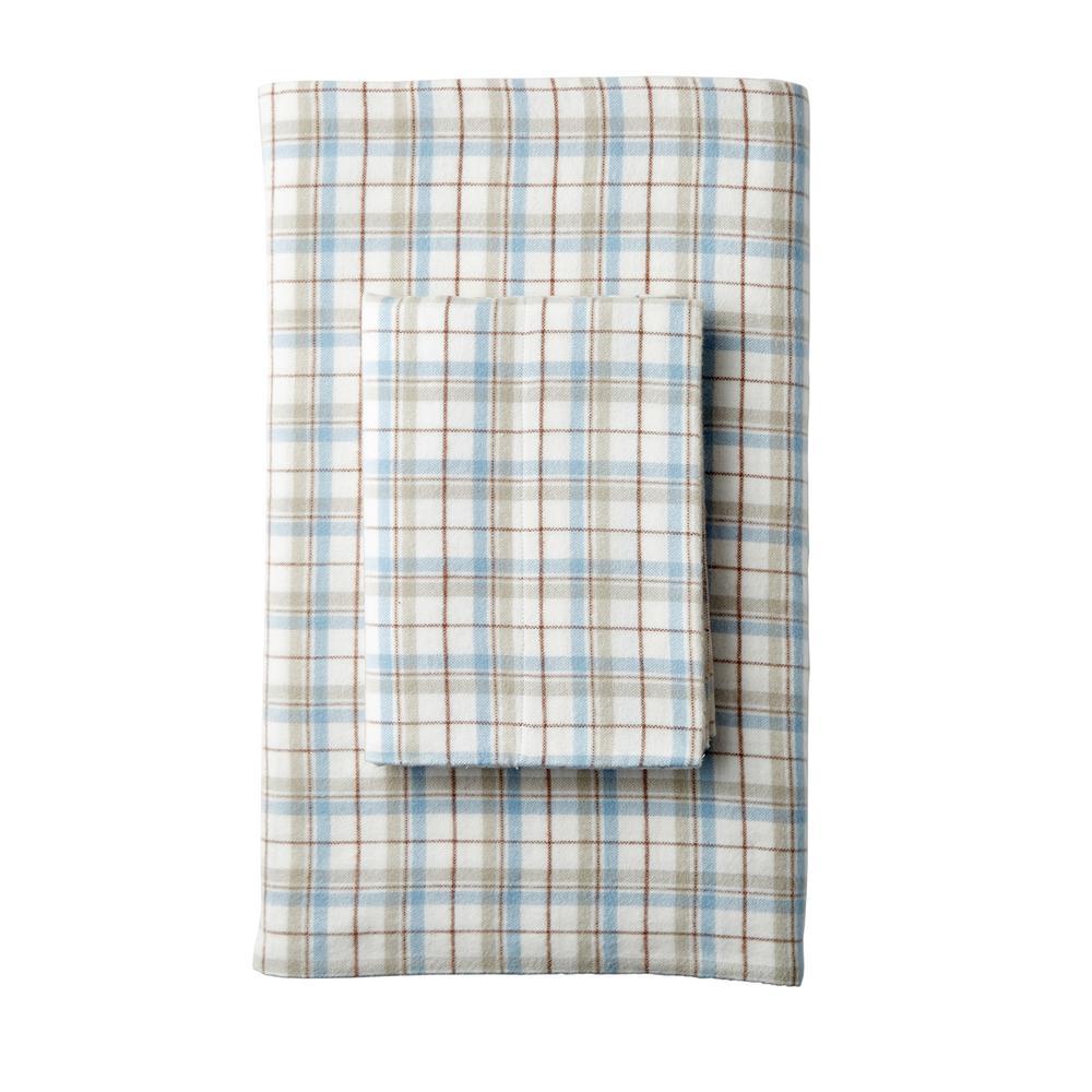 The Company Store Frasier Yarn Dyed Plaid Organic Flannel Twin Flat
