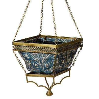 Gold Chloe Hanging Planter With Blue Liner