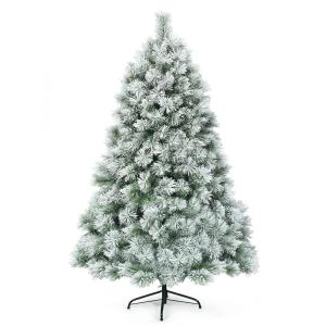 6 ft. Premium Hinged Artificial Christmas Tree Snowy Pine Needles with 586 Branches