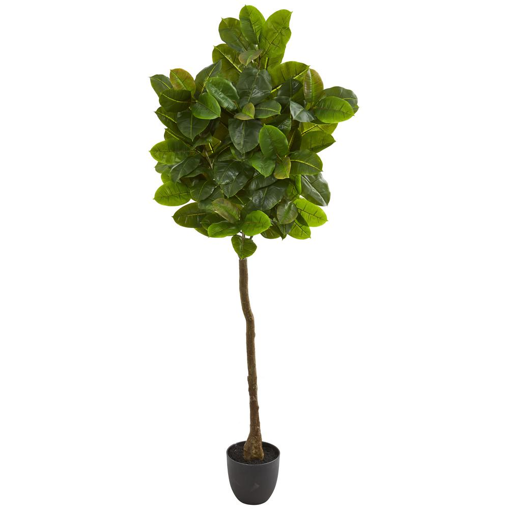 Nearly Natural Indoor 6 In Rubber Leaf Artificial Tree 9115 The Home Depot