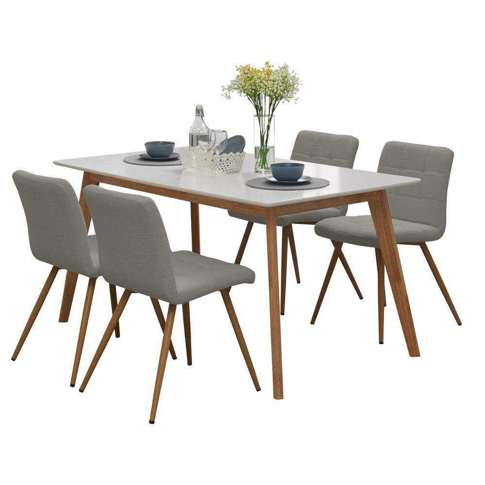 Windsor 5 piece dining set with white topped rectangle table and armless upholstered dining chairs in dove gray linen