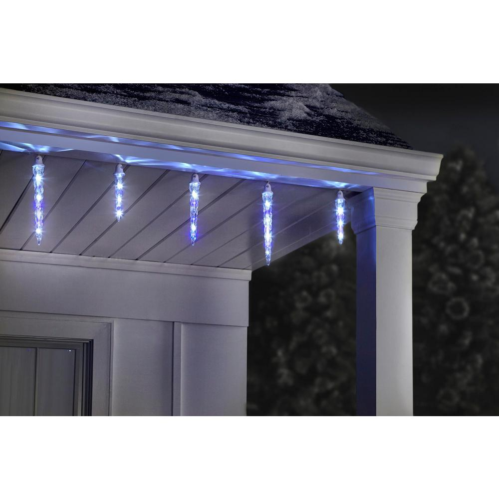 Lightshow 11 In X 9 In X 7 In 8 Light Led Icy Blue White Christmas Shooting Star Icicle Light String