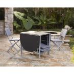 undefined Delray Transitional 7- Piece Steel Blue & Gray Woven Wicker Compact Folding Patio Dining Set
