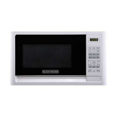 0.7 cu. ft. Countertop Small Microwave in White with Pre-Programmed Settings