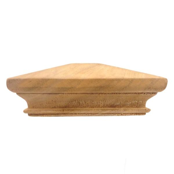 Miterless 4 in. x 4 in. Untreated Wood Pyramid Slip Over Fence Post Cap