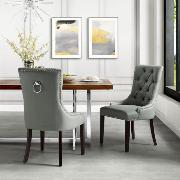 Inspired Home Autumn Light Grey/Chrome PU Leather Nailhead Armless Dining Chair