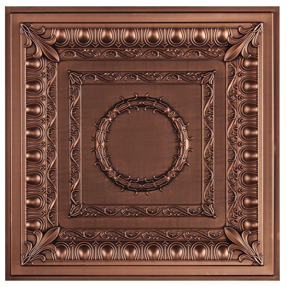 uDecor Royal 2 ft. x 2 ft. Lay-in or Glue-up Ceiling Tile in Antique Bronze (40 sq. ft. / case)