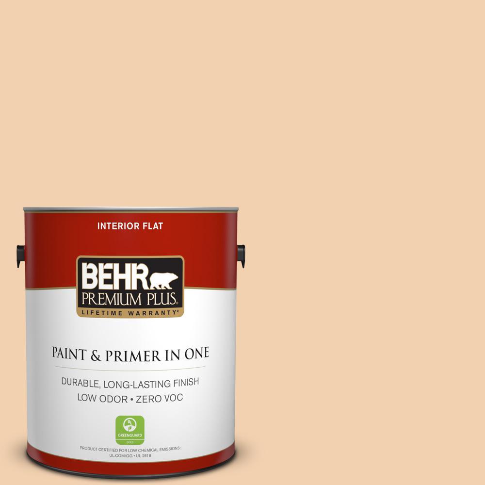BEHR Premium Plus 1-gal. #PPL-42 Warm Apricot Zero VOC Flat Interior Paint