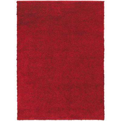 Posh Shag Red 7 ft. x 9 ft. Area Rug
