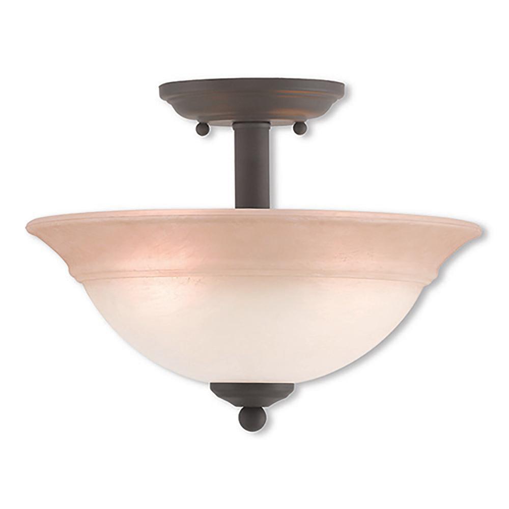Wynnewood 2-Light Bronze Flushmount