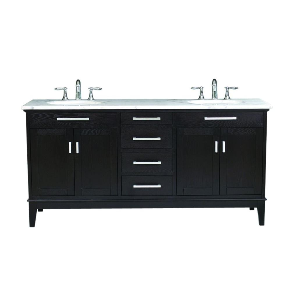 Virtu USA Battista 72 in. Double Basin Vanity in Dark Espresso with Marble Vanity Top in White-DISCONTINUED