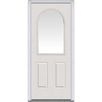 32 in. x 80 in. Right-Hand Inswing 1/2-Lite Round Top Clear 2-Panel Classic Primed Fiberglass Smooth Prehung Front Door
