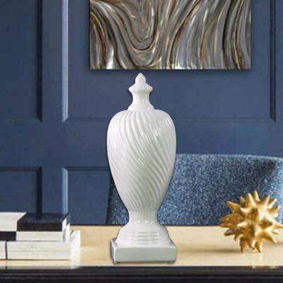 White Decorative Ceramic Finial with Base- Large