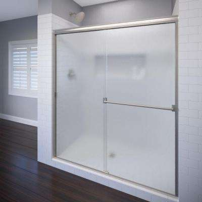 Classic 47 in. x 70 in. Semi-Frameless Sliding Shower Door in Brushed Nickel with Obscure Glass