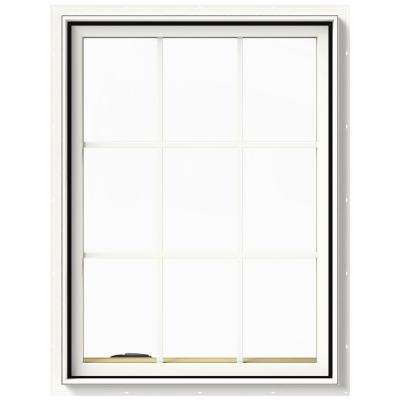 30 in. x 40 in. W-2500 Series White Painted Clad Wood Left-Handed Casement Window with Colonial Grids/Grilles
