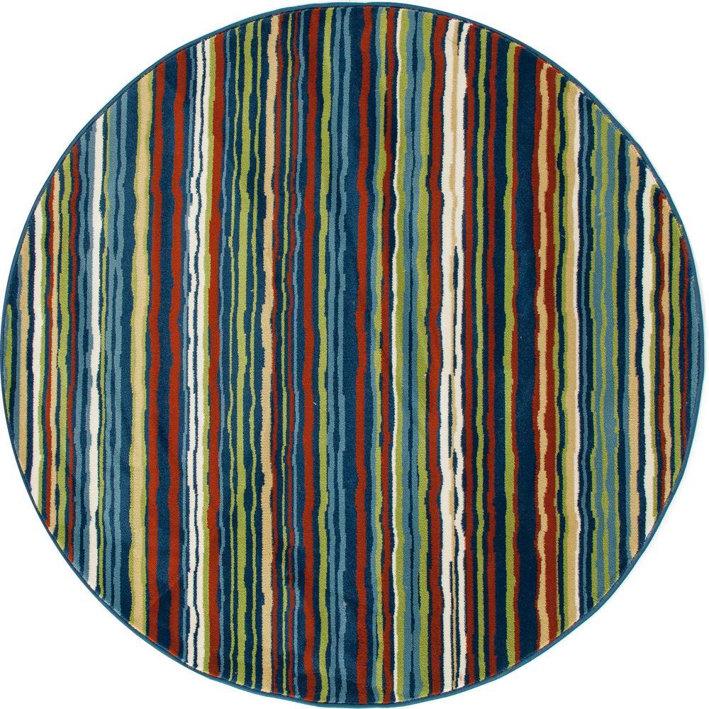Art Carpet Seaport Wavy Stripe Multicolor 8 Ft X 8 Ft