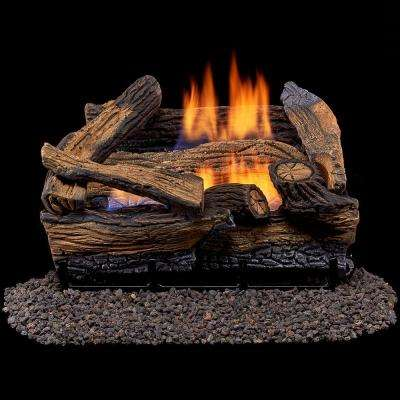 Split Red Oak 18 in. Vent-Free Gas Fireplace Logs With Thermostat