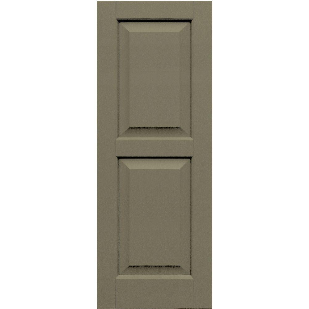 Winworks Wood Composite 15 in. x 40 in. Raised Panel Shutters Pair #660 Weathered Shingle