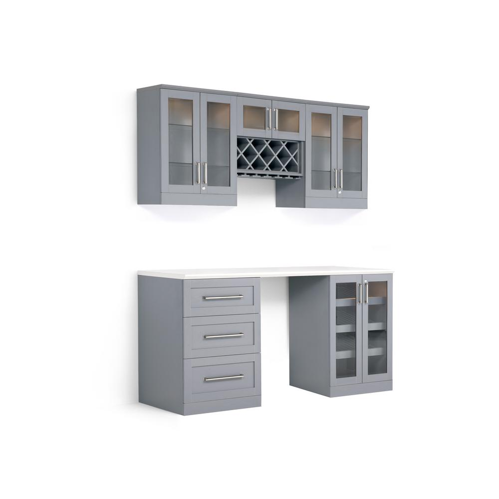 Newage Products Home Bar Gray 6 Piece Shaker Style Bar Cabinet 60252