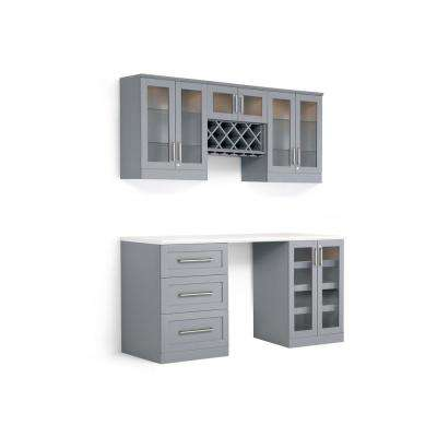 Home Bar Gray 6-Piece Shaker Style Bar Cabinet
