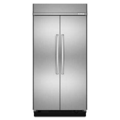 48 in. W 30 cu. ft. Built-In Side by Side Refrigerator in Stainless Steel