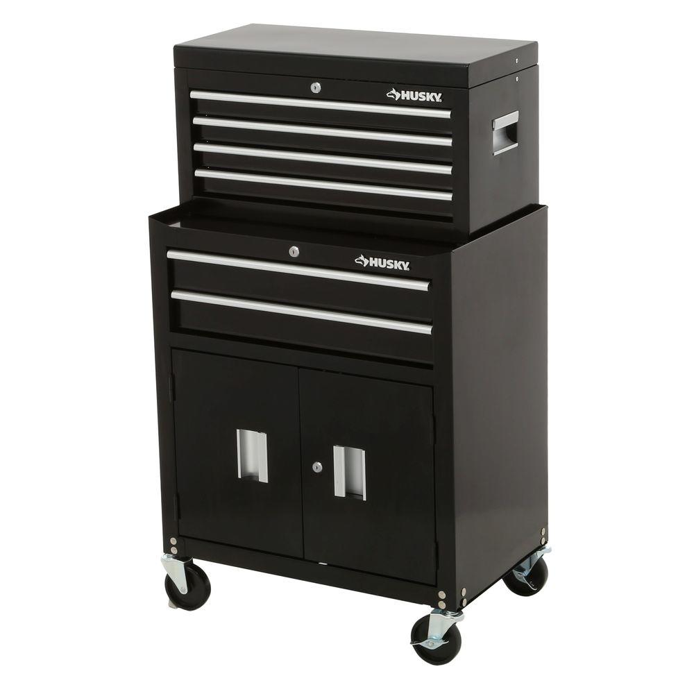 Husky 26 in. 6-Drawer Tool Chest and Rolling Tool Cabinet Set, Black