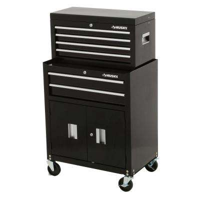 26 in. 6-Drawer Tool Chest and Rolling Tool Cabinet Set, Black