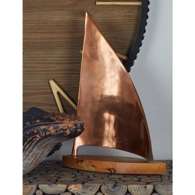 Litton Lane 18 in. Stylized Sailboat Aluminum and Wood Sculpture, Brown
