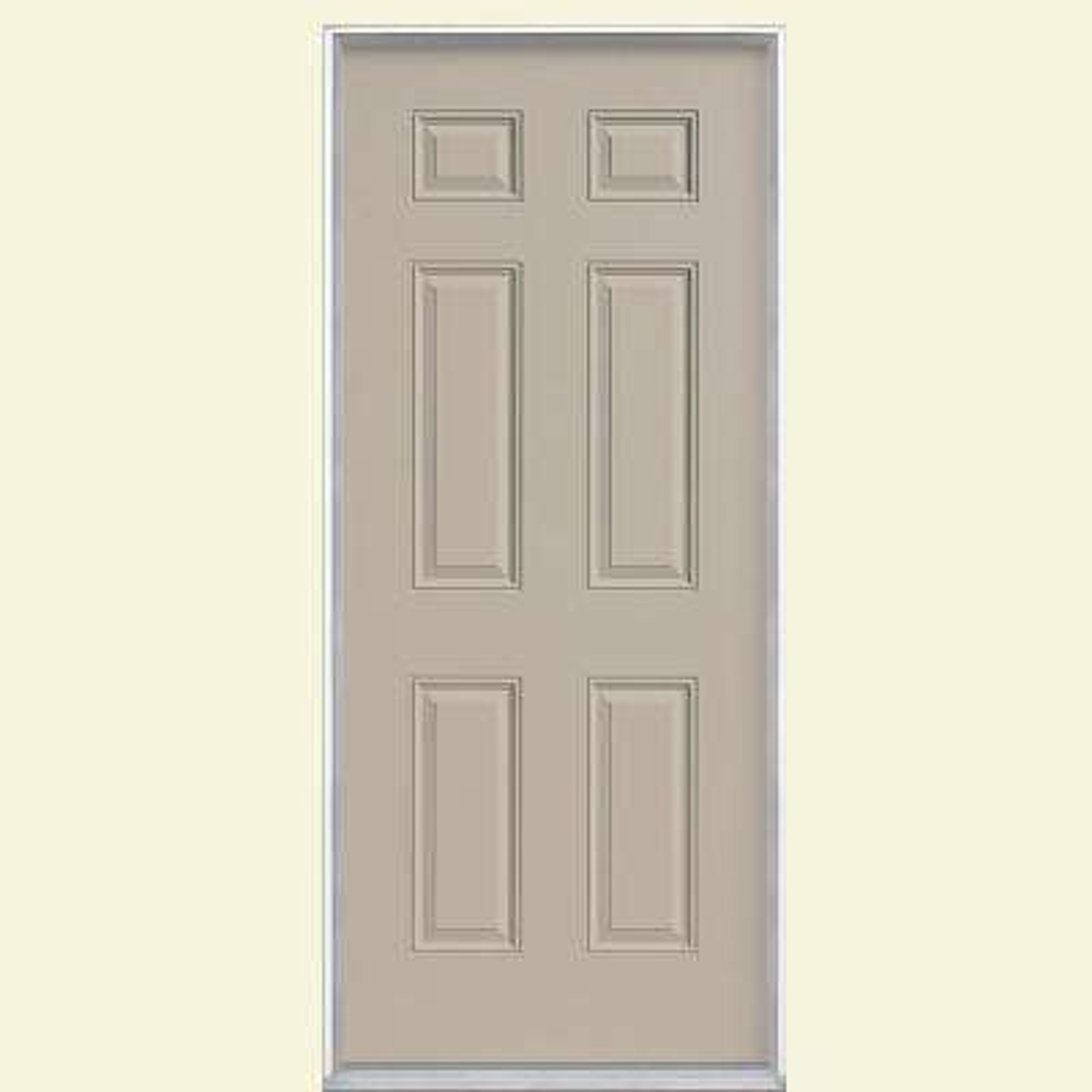 6-Panel Primed Steel Prehung Front Door with Brickmold