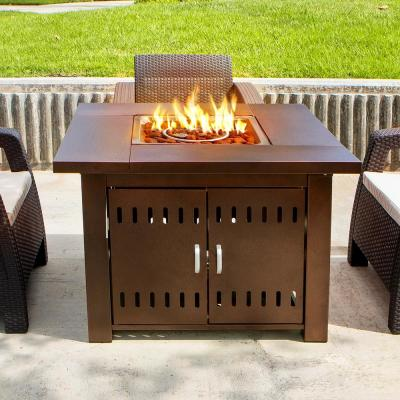 38 in. x 28 in. Square Aluminum LPG Propane Gas Outdoor Patio Heater Fire Pit Tabletop with Weather Cover in Bronze
