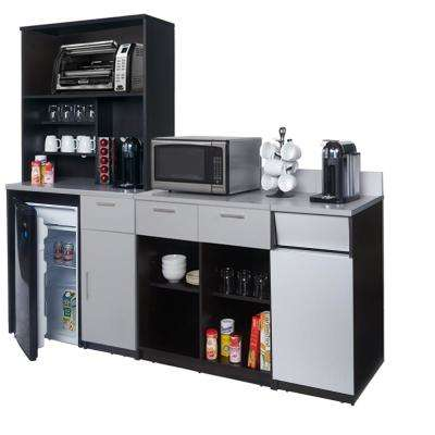 Coffee Kitchen Espresso / Silver Sideboard with Lunch Break Room Functionality with Assembled Commercial Grade (4-Piece)