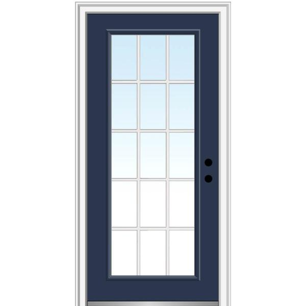 32 in. x 80 in. Internal Grilles Left-Hand Inswing Full Lite Clear Low-E Painted Fiberglass Smooth Prehung Front Door