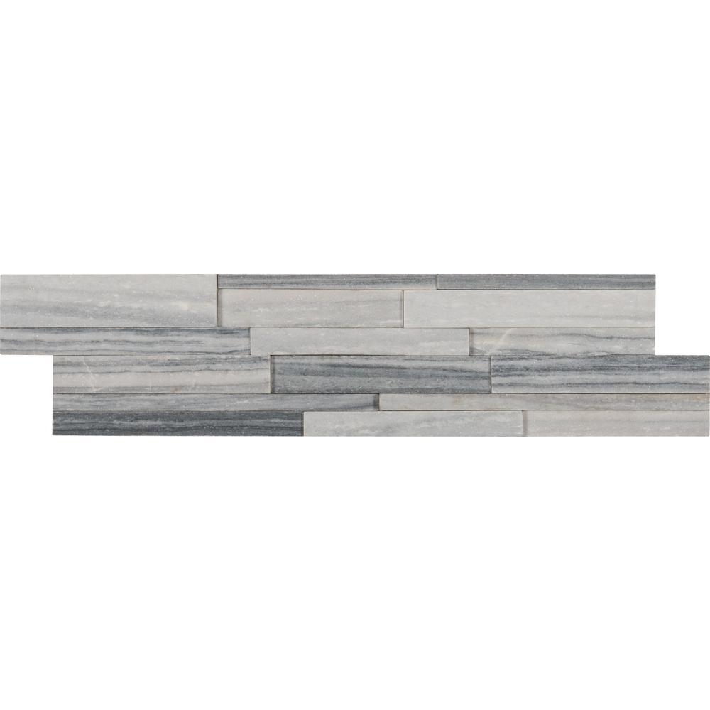 Alaska Gray 3D Ledger Panel 6 in. x 24 in. Honed Marble Wall Tile (10 cases / 60 sq. ft. / pallet)