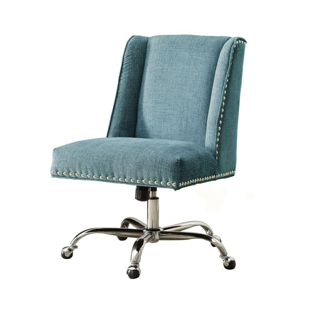 linon home decor draper aqua polyester office chair 87869