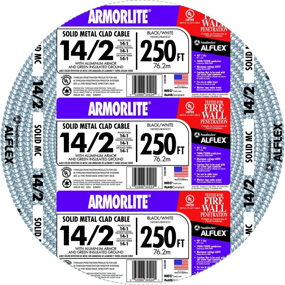 Southwire 14 2 X 250 Ft Solid Cu Mc Metal Clad Armorlite Cable Power What Gauge Wire Cord Do I Need For These Outdoor Lamps Home