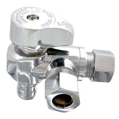 1/2 in. Chrome-Plated Brass PEX Barb x 3/8 in. Compression x 3/8 in. Compression Quarter-Turn Stop Valve