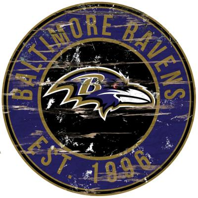 "24"" NFL Baltimore Ravens Round Distressed Sign"