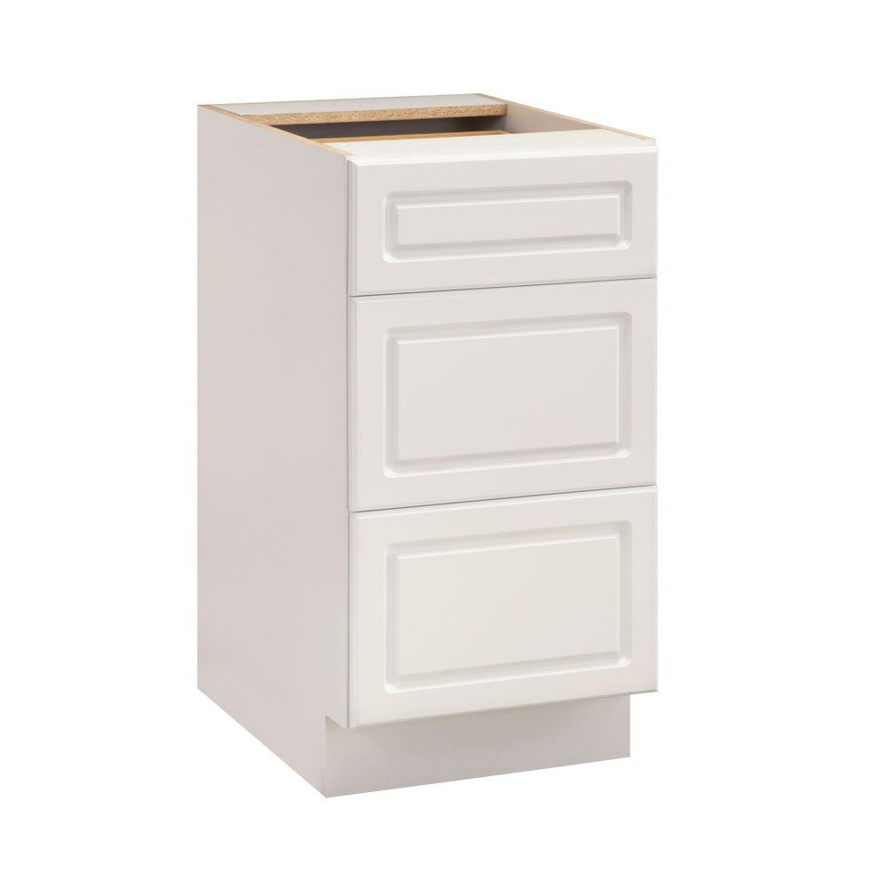 Heartland Cabinetry Heartland Ready to Assemble 18x34.5x24.25 in. Base Cabinet with 3 Drawers in White
