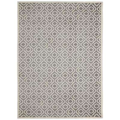 Alpina Collection Gray and Ivory 2 ft. 7 in. x 9 ft. 10 in. Moroccan Trellis Runner Rug