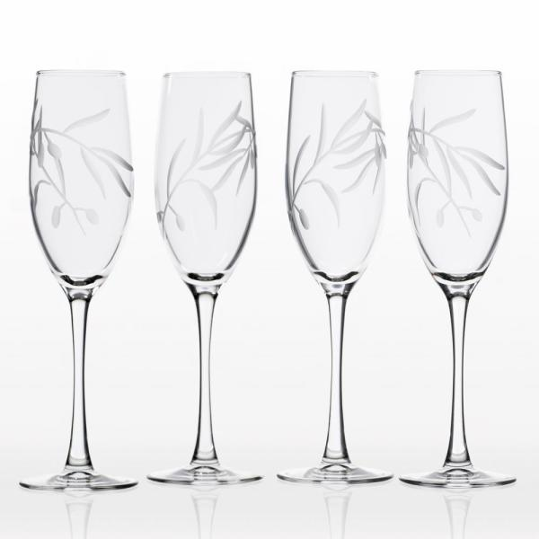 Rolf Glass Olive Branch 8 oz. Clear Champagne Flute (Set of 4)
