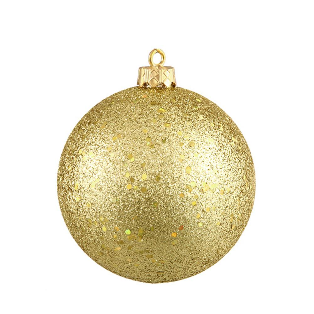 Northlight Shatterproof Vegas Gold Holographic Glitter Christmas Ball Ornament