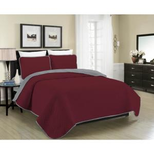 MHF Home Allison Reversible 2-Piece Burgundy and Grey Quilt Twin Set